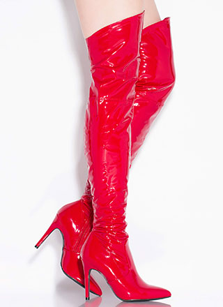 Dominatrix Faux Patent Thigh-High Boots