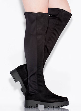 That's Easy Lug Sole Thigh-High Boots