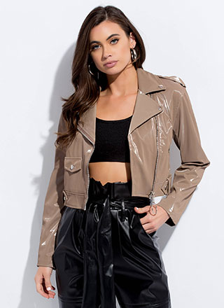 Ride Along Faux Patent Moto Jacket