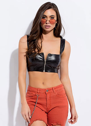 Moto Girl Zip-Up Faux Leather Crop Top