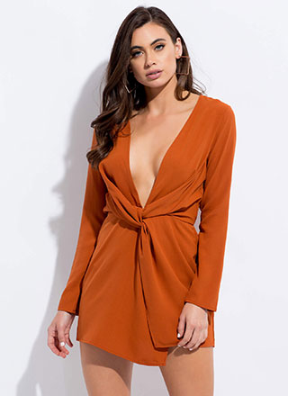 The Big Twist Plunging Minidress