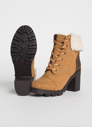 Cozy Up Chunky Faux Shearling Booties