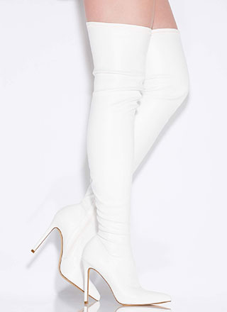 High Point Faux Leather Thigh-High Boots