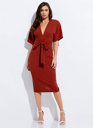 Cut-Out For This Tied Dolman Midi Dress
