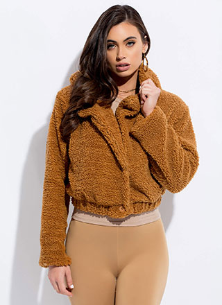 Euro Chic Cropped Faux Shearling Jacket