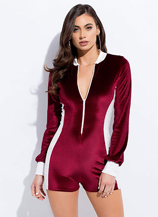 Sporty Chic Two-Toned Velvet Romper