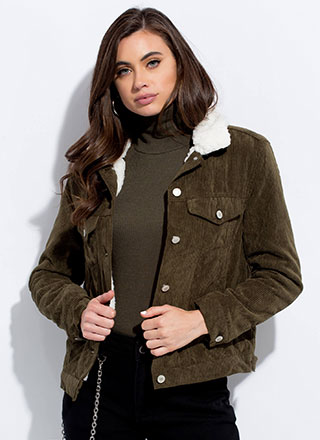 Warm Up Corduroy Faux Shearling Jacket