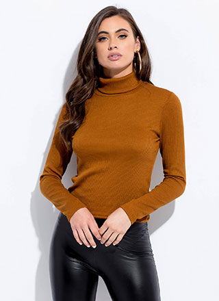 Cover Me Rib Knit Turtleneck Top