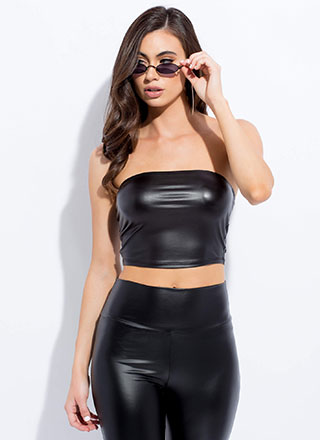Slick Cropped Faux Leather Tube Top