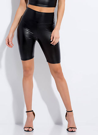 Slick Faux Leather Biker Shorts
