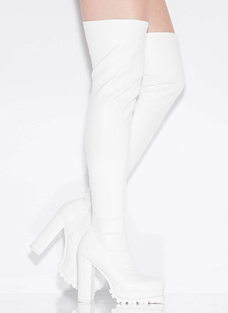 True Lug Faux Leather Thigh-High Boots