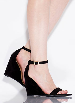 Exclusive Faux Suede Ankle Strap Wedges
