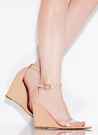 Exclusive Faux Patent Ankle Strap Wedges