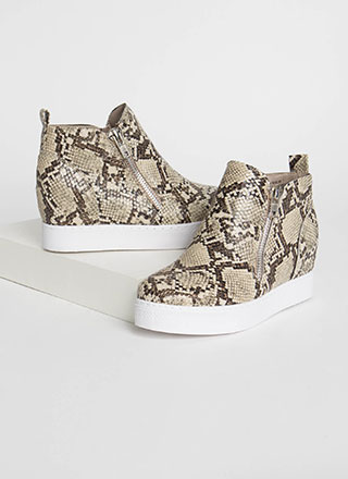 On The Rise Snake Print Wedge Sneakers