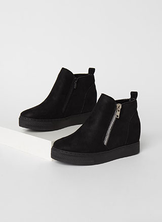 On The Rise Faux Suede Wedge Sneakers