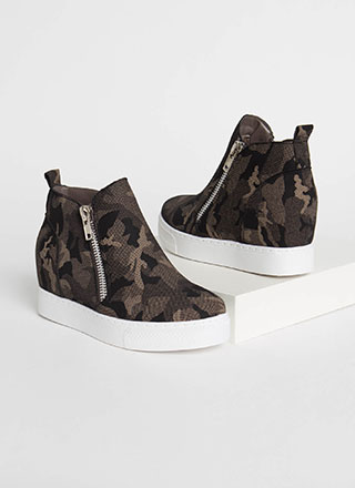On The Rise Camo Print Wedge Sneakers