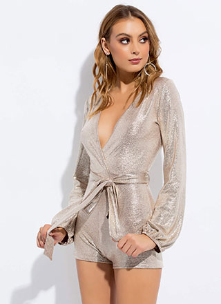 Sparkly Nights Metallic Tied Romper