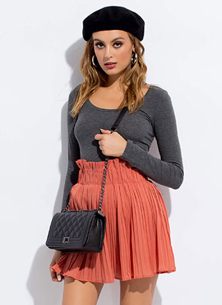 Pretty In Pleats Paper-Bag Miniskirt