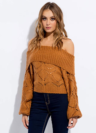 Stay Slouchy Off-Shoulder Knit Sweater