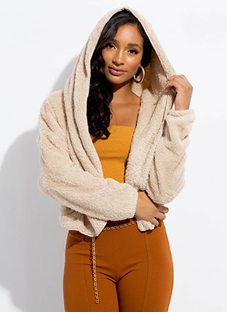 Uptown Hooded Faux Shearling Coat