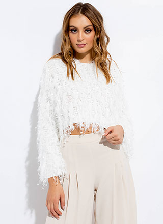Greatest Knits Feathery Fringed Sweater