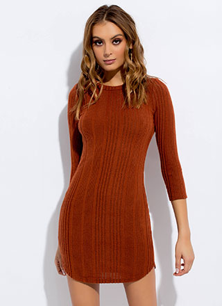 All 'Round Town Rib Knit Minidress