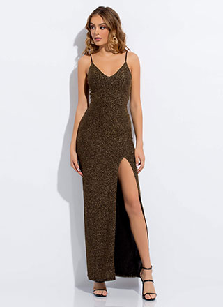 Glamour Girl Sparkly High-Slit Gown