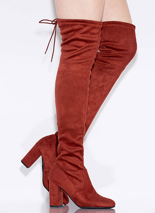 Tie-Breaker Chunky Thigh-High Boots