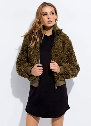 Fur Certain Faux Shearling Bomber Jacket