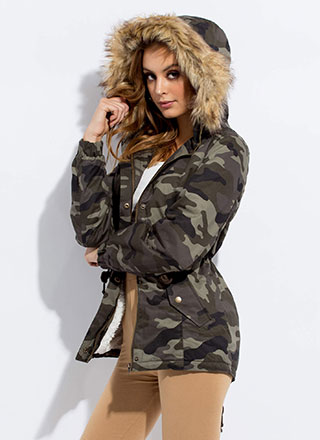Cooler In Camo Hooded Furry Trim Jacket