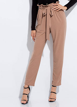 High Tied Paper-Bag Waist Pants