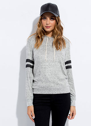 Heather Weather Sporty Striped Hoodie