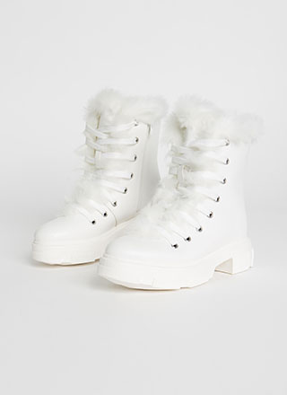 Snowed In Furry Trim Faux Leather Boots