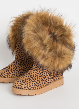 Furry Up Shaggy Trimmed Faux Suede Boots