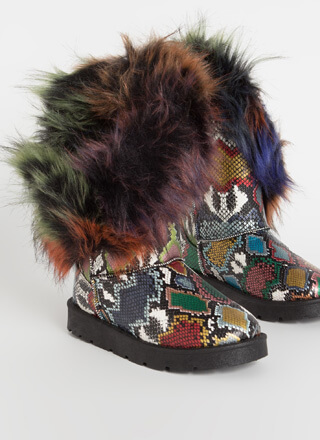 Furry Up Shaggy Trimmed Faux Snake Boots