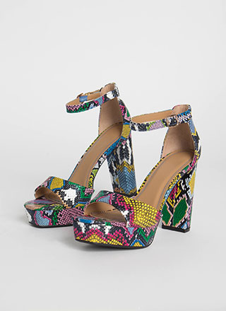 Perfect Chunky Snake Print Platforms