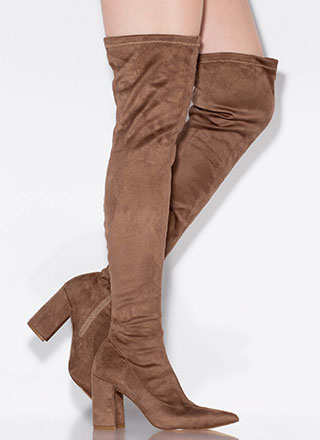 Per-suede Me Chunky Thigh-High Boots