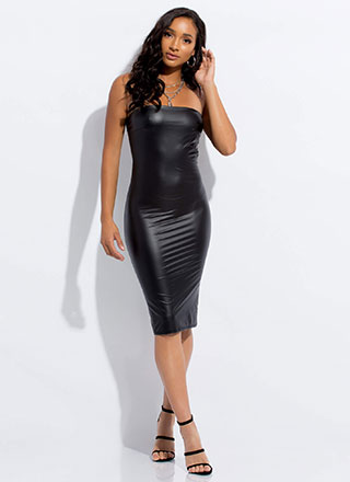 Handle It Faux Leather Midi Tube Dress