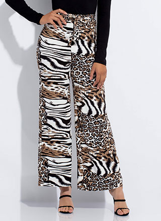 Wild Cat Animal Print Palazzo Pants