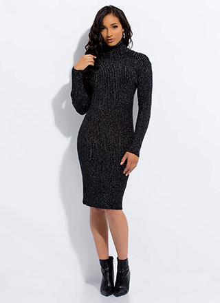 Sparkly Sweater Ribbed Turtleneck Dress
