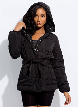 Born Ready Tied Hooded Puffy Jacket