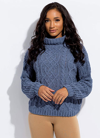 Get Cozy Cable Knit Turtleneck Sweater