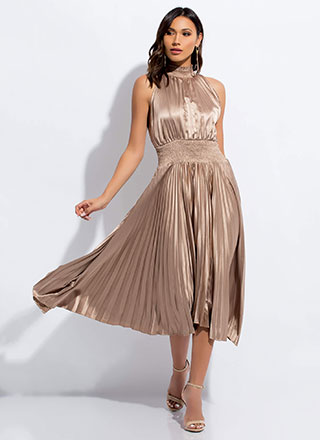 Pleats To Meet You Flared Satin Dress
