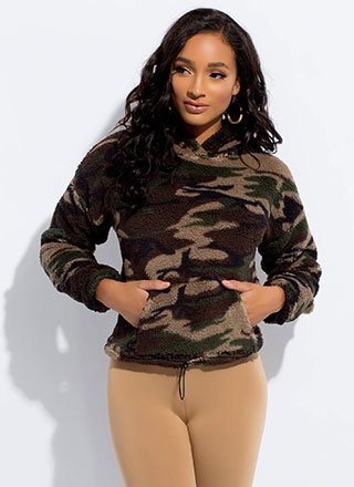 Fleece Out Camo Print Drawstring Hoodie