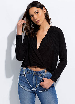 My Turn Plunging High-Low Surplice Top