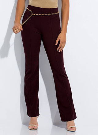 Chain Reaction Belted Pleated Slacks