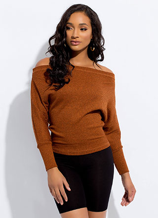 Knit Picking Off-Shoulder Dolman Top