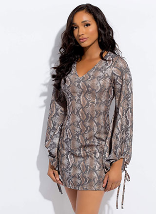 Hisssss Glittery Puff Sleeve Snake Dress