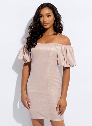 Sparkle Off-Shoulder Puff Sleeve Dress