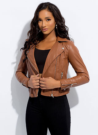 Biker Chick Faux Leather Moto Jacket
